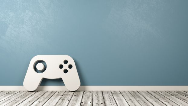 Gamepad Controller Symbol on Wooden Floor Against Wall