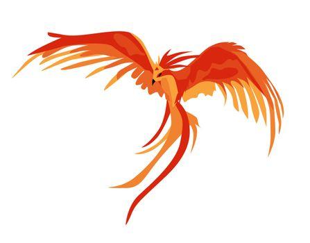Phoenix. The magic phoenix. Harry Potter. Professor Dumbledore's Bird. Vector illustration isolated on a white background. Fiery animal..