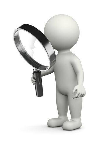 White 3D Character with Magnifier Illustration on White Background, Searching for Concept