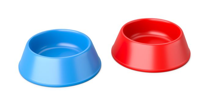 Two Empty Pets Bowl Isolated on White Background 3D Illustration
