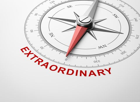 Compass on White Background, Extraordinary Concept