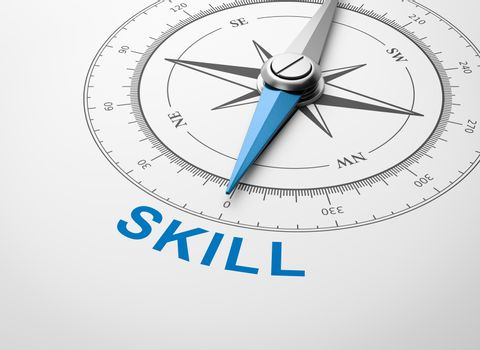 Compass on White Background, Skill Concept