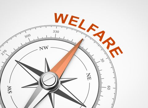 Compass on White Background, Welfare Concept