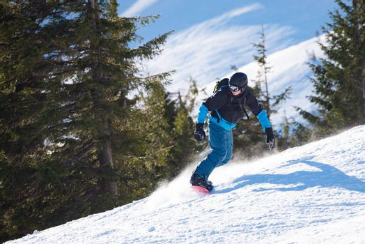 Snowboarder Riding Snowboard at Sunny Day. Fir Forest and Mountain Hill at the Background. Snowboarding and Winter Sports