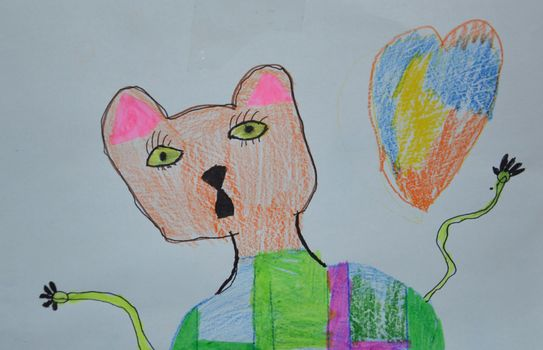 Children's drawing of a bear drawn with felt-tip pens and pencils