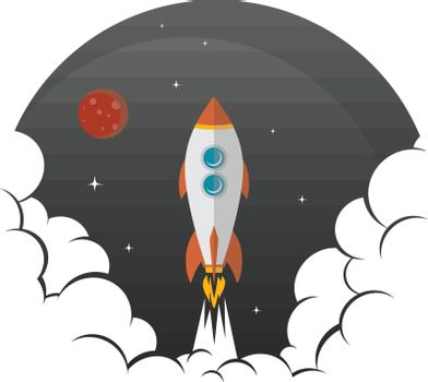rocket ship launch space travel theme vector art