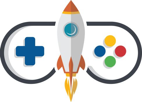 rocket game console turbo speed joystick controller vector