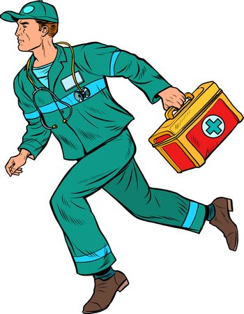 An ambulance doctor. Male medic with first aid kit