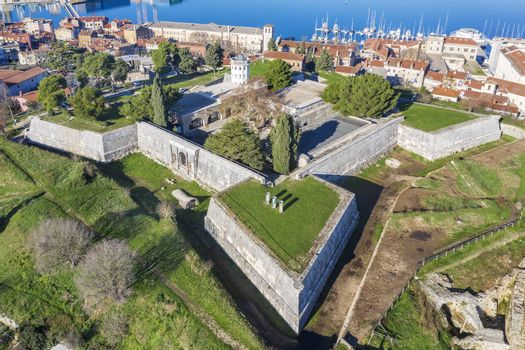 an aerial view of old Venetian Fortress and castle in Pula, Istria, Croatia,
