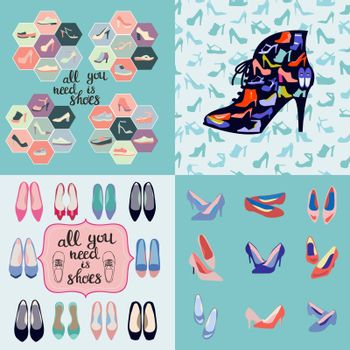 Vector of hand drawn set of fashion illustration, background and icons of shoes.  Fashionable different types of shoes sneakers and sandals For Man And Woman.