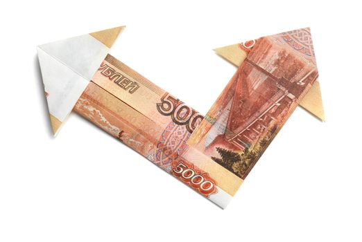 5000 Russian rubles in the form of an arrow on a white background.
