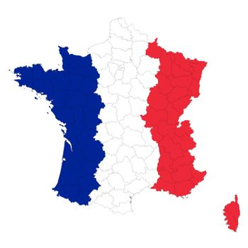 Vector map of France regions in colors of national Flag