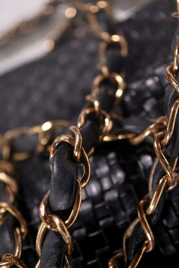 Gold plated chain of leather shoulder bag women.