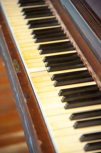Black and white keys on an old piano