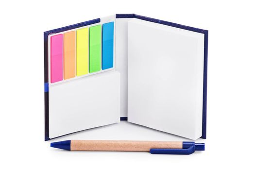 Close up of a notebook with colorful page marker stickers and a pen,  isolated on white background.
