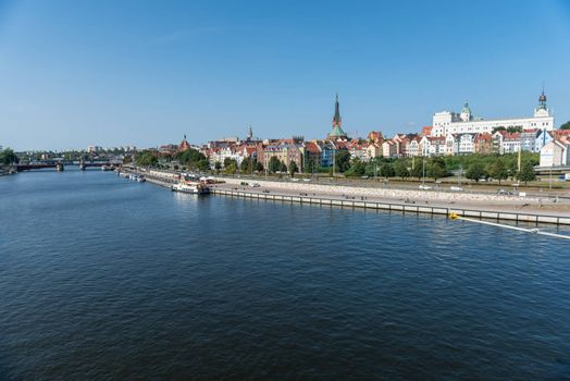 Left bank of the Oder river in Szczecin with the maritime museum and the terraces