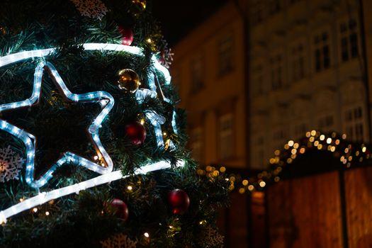 Christmas luminous star on the Christmas tree