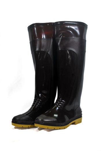 Brown waterproof rubber boots isolated on white background.(with Clipping Path).