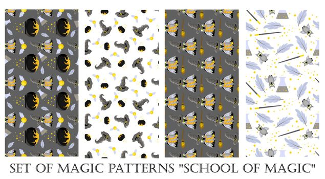 Set of Christmas patterns. Magic. Hogwarts School of Magic. Children's and teenage style. Harry Potter and Gryffindorf.