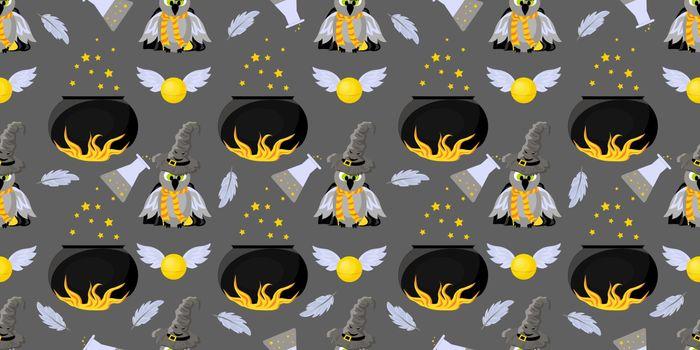 Seamless pattern magic and sorcery. Hogwarts School of Magic. Children's and teenage style..
