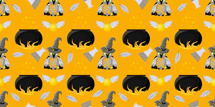 Seamless pattern magic and sorcery. Harry Potter fans. Owl, pot of witchcraft potion. Hogwarts School of Magic. Teenage Textiles..
