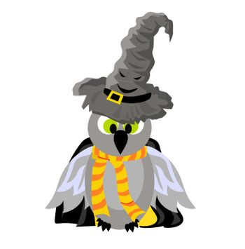 SCHOOL OF MAGIC. OWL In a mantle and a magic talking hat. Hogwarts.