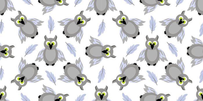 Seamless pattern magic and sorcery. Owl. Gray bird. Hogwarts School of Magic. Teenage Textiles..