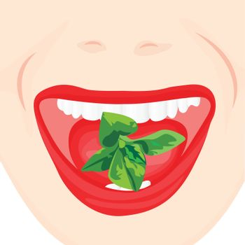 Mint leaves in a mouth. Oral hygiene for good and fresh breathe. Fighting bad breath concept