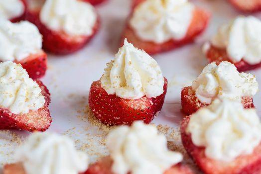 Above Shot of Stuffed Deviled Fresh Strawberries