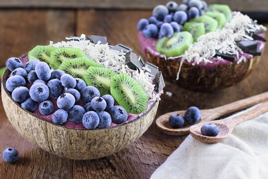 Açai Bowls with Kiwi Coconut Chocolate and Frozen Berries