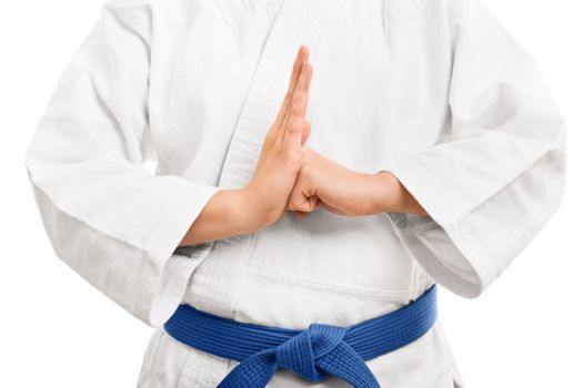 A close up shot of a martial arts fighter in a white kimono with blue belt performing a hand salute, isolated on white background.