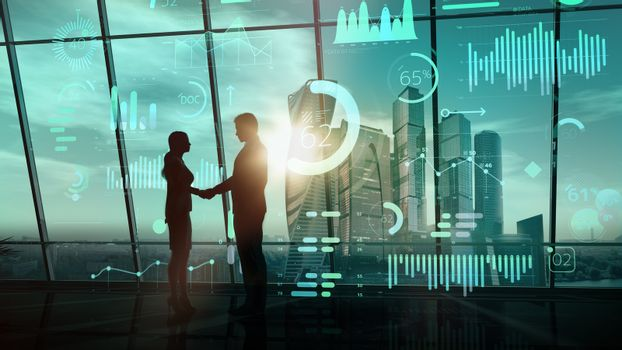 A moment of handshake of business people on infographic background.
