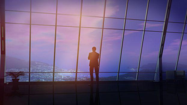 Businessman in a huge office overlooking coastal landscape.