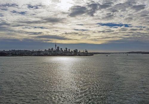 The skyline of Auckland, New Zealand
