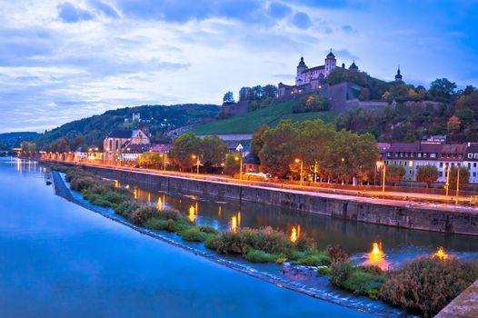 Wurzburg. Old Main Bridge over the Main river and scenic riverfr