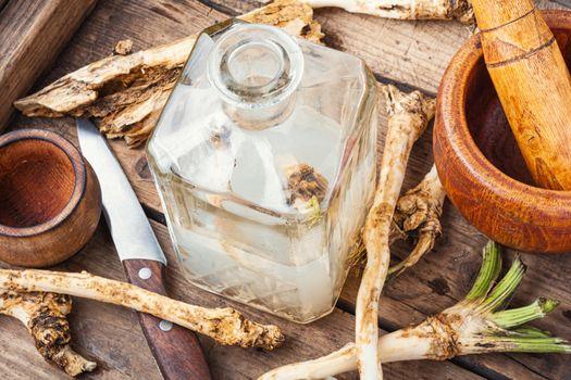 Alcoholic drink on horseradish