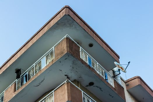 a bottom up architectural shoot to corner of an old building. photo has taken at izmir/turkey.