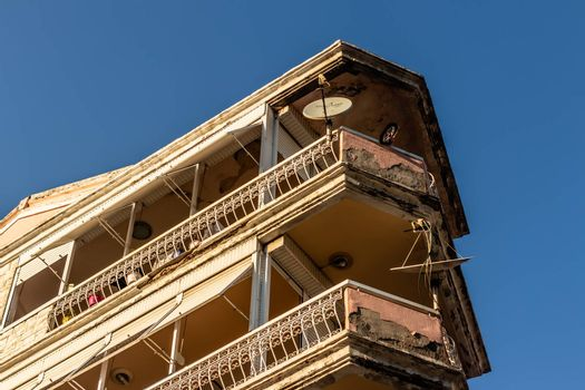 a bottom up corner shoot from an old building - good looking balconies. photo has taken at izmir/turkey.
