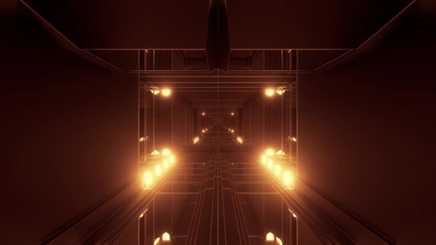 dark atmospheric science-fiction tunnel corridor with glowing lights and reflective glass windows 3d illustration background wallpaper graphic artwork, futuristic scifi tunnel corridor with metal wire-frame contur 3d rendering design