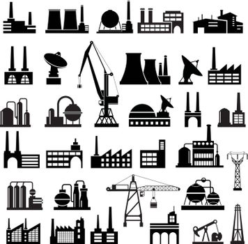 Silhouettes of industrial houses. Urban landscape. Buildings, houses, factories, buildings, warehouses.