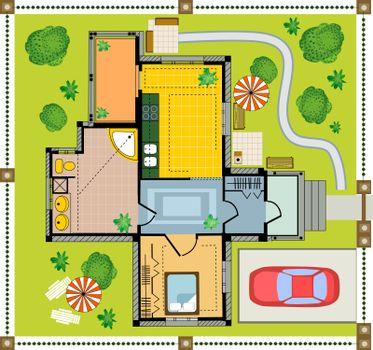 Color Plan country house on a white background