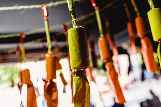 Close-up detail of the Masclets, traditional Valencian firecrackers fired during the Fallas festivities.
