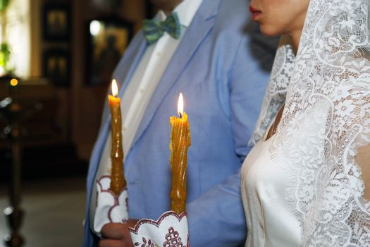The beautiful wedding ceremony in the Russian Church.