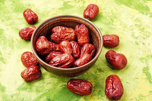 Dried unabi fruit or jujube.Medicinal and edible plant
