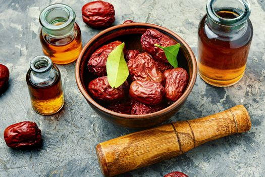 Healing tincture from unabi fruit or jujube.Chinese medicine