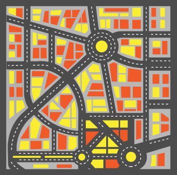 Plan a city block diagram in red colors with streets and houses.