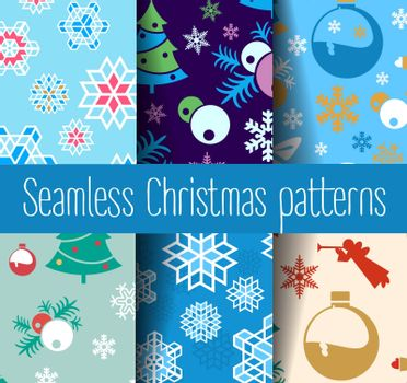New Year Christmas seamless colorful background. Seamless repeating pattern.