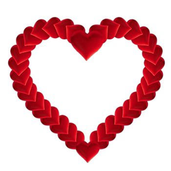 Valentine's day many red silk hearts in heart shape isolated on white background, love concept