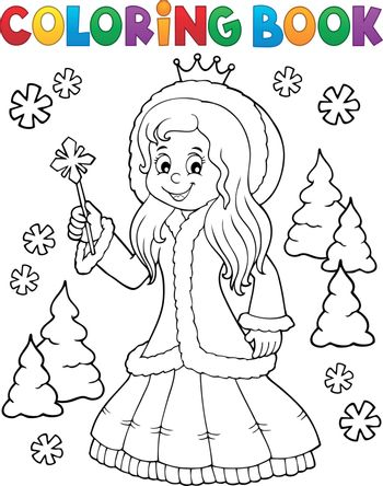 Coloring book princess in winter clothes - eps10 vector illustration.