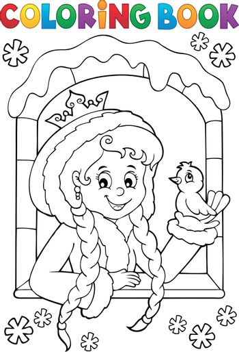 Coloring book princess in winter window - eps10 vector illustration.